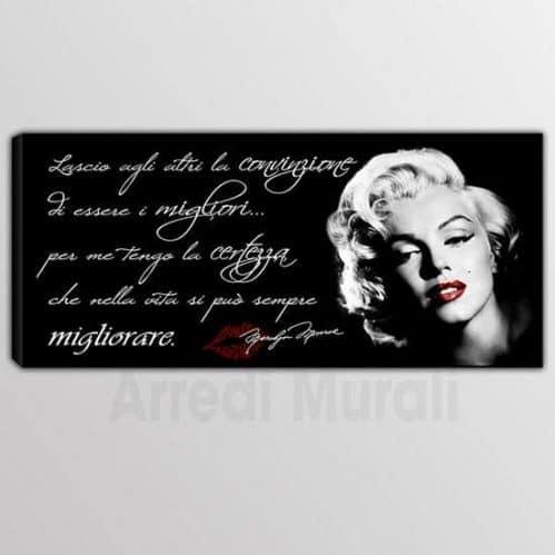 Quadro moderno frase Marilyn Monroe sfondo nero e viso della diva