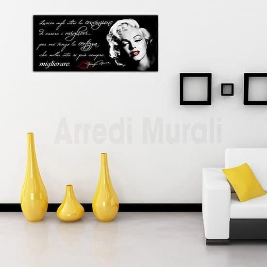 Quadro moderno frase Marilyn Monroe stampa su tela con volto della diva