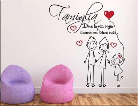adesivi murali amore famiglia frase arredo