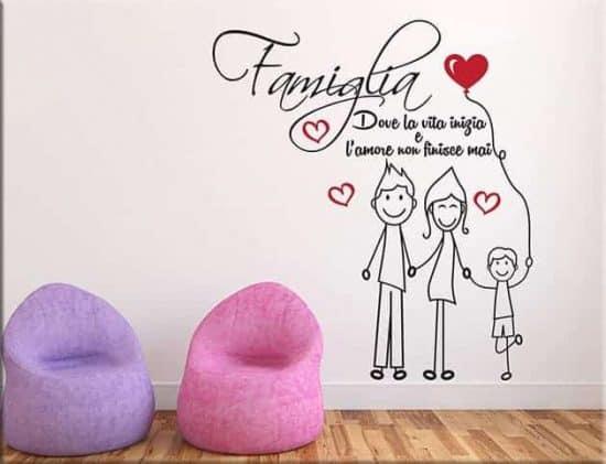 adesivi murali amore famiglia frase arredo tipo 2