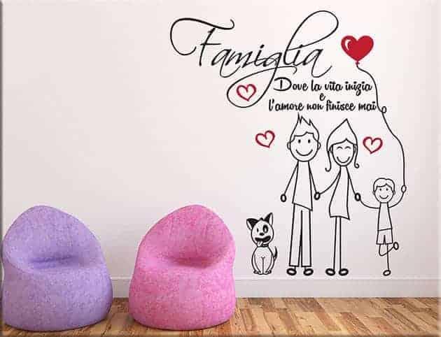 adesivi murali amore famiglia frase arredo tipo 3