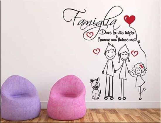 adesivi murali amore famiglia frase arredo tipo 4