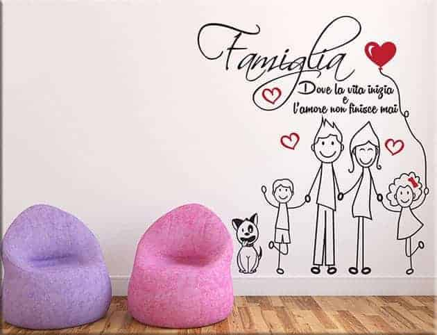 adesivi murali amore famiglia frase arredo tipo 5