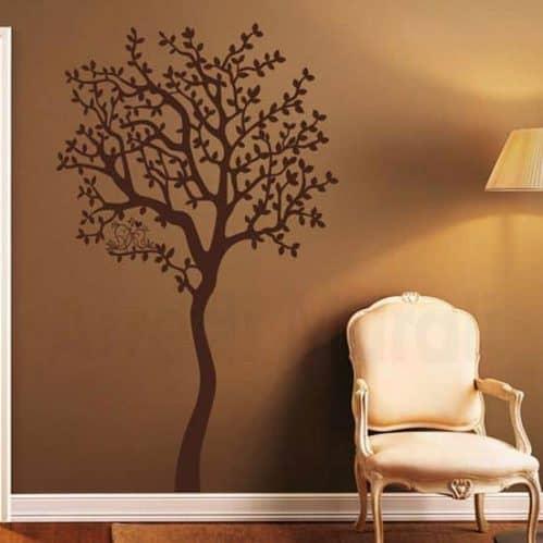 adesivi murali albero love con uccellini su ramo marrone