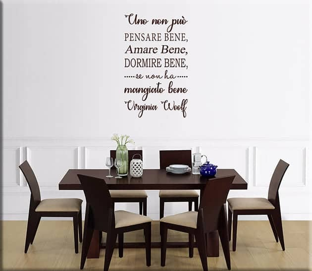 decorazioni murali frase Virginia Woolf arredo