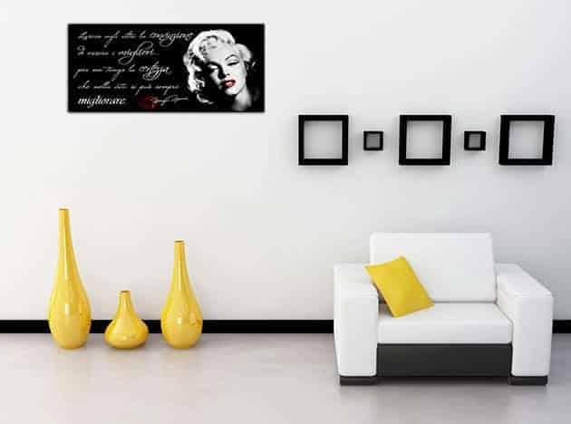 quadro moderno arredo frase Marilyn Monroe