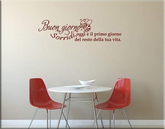 wall stickers frase buon giorno sorridi
