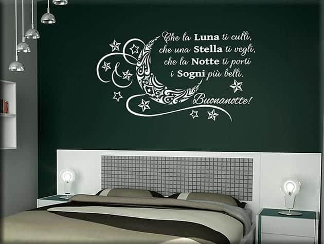 decorazioni murali frase buonanotte arredo letto