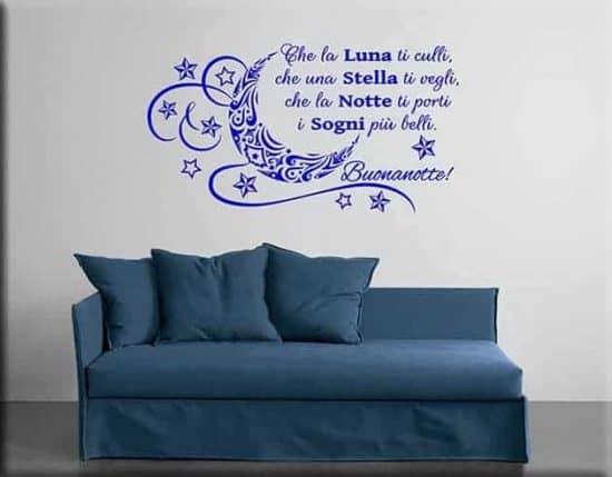 wall stickers frase buonanotte arredo letto