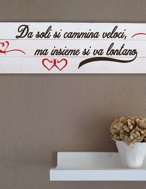 Arredo shabby chic pannelli murali in legno frase love