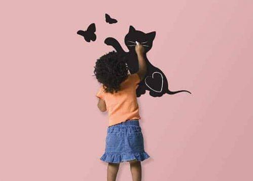 Lavagne adesive da parete gatto farfalle