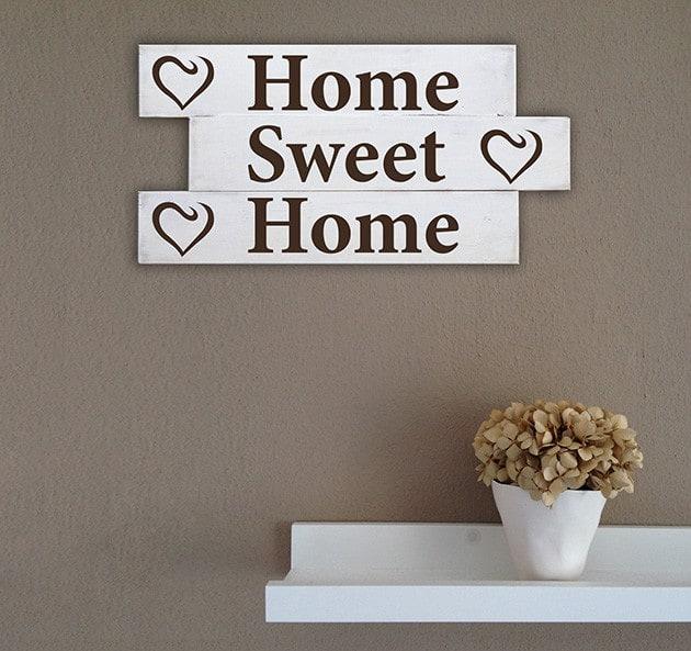 Pannelli decorativi shabby chic in legno frase casa home - Pannelli da parete decorativi ...