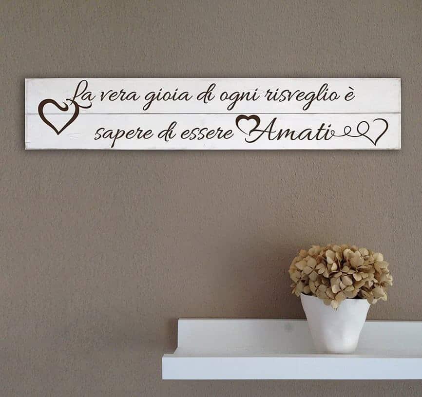 Shabby chic pannelli da parete in legno frase amore