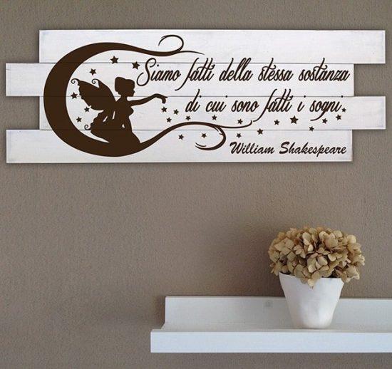 Shabby chic pannelli decorativi da parete frase Shakespeare