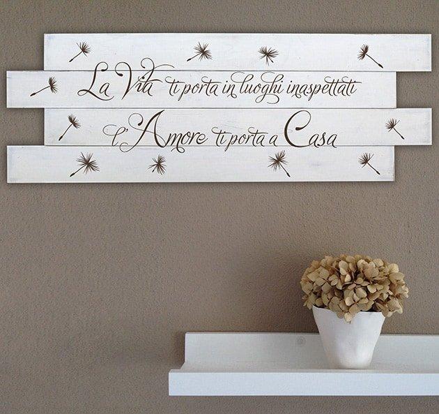 Shabby chic pannelli decorativi da parete in legno frase casa