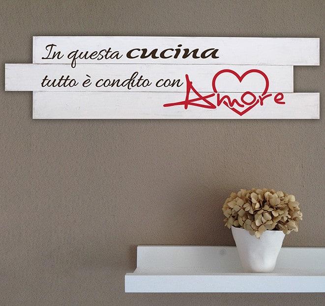 Shabby chic pannelli decorativi in legno frase cucina