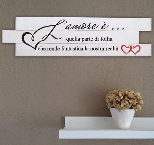 Shabby chic pannelli in legno da parete frase amore
