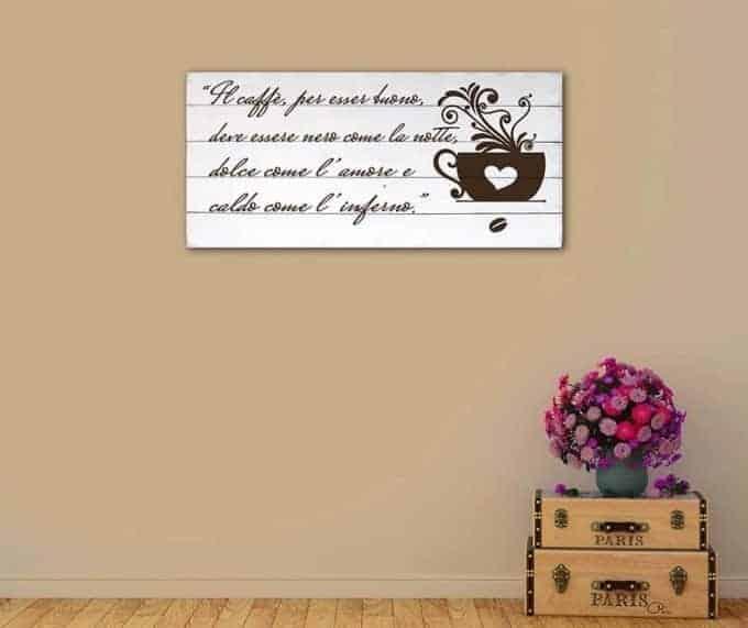Shabby chic pannelli murali in legno frase caffè bar