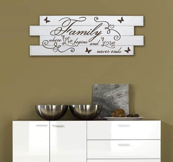 Shabby chic pannelli murali in legno frase family