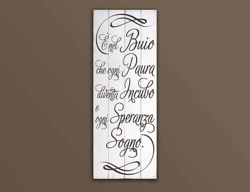 Shabby chic style pannelli murali in legno frase buio