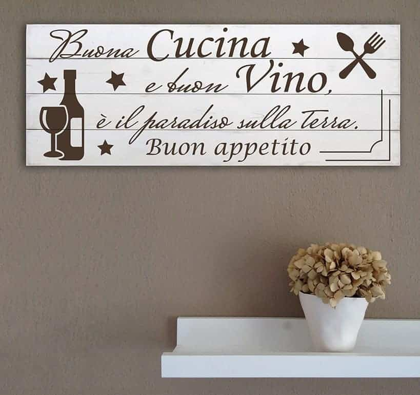 Shabby chic style pannelli murali in legno frase cucina
