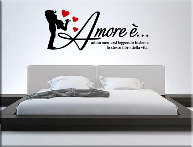Adesivi murali frase amore arredo letto - Adesivi parete camera da letto ...