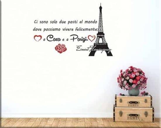 Adesivi murali frase casa Parigi Ernest Hemingway