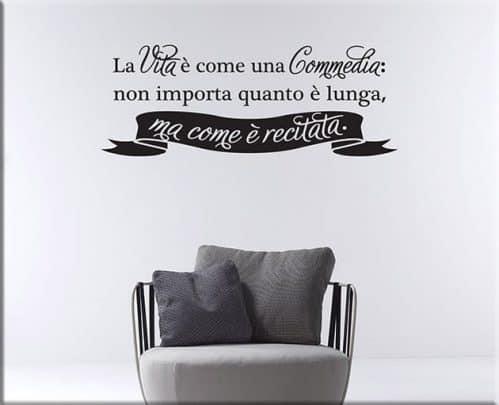 Adesivi murali frase vita Seneca arredo