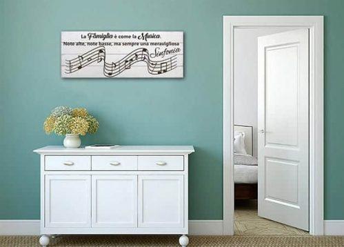 Pannelli decorativi shabby chic in legno famiglia musica