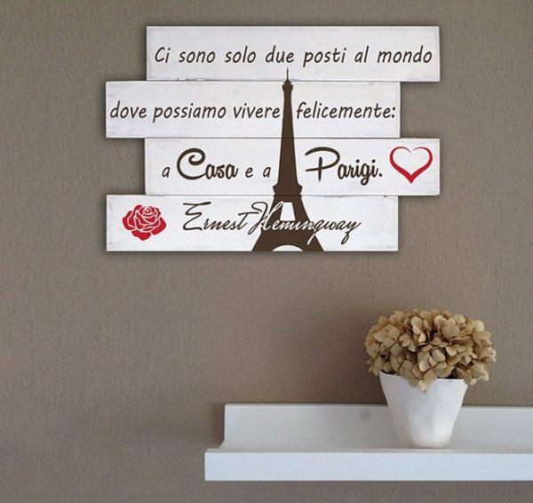 Shabby chic pannelli decorativi in legno fraseHemingway