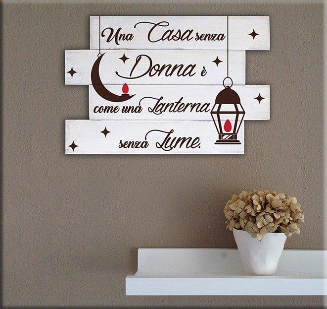 Shabby chic pannelli decorativi in legno frase donna