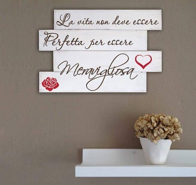 Shabby chic pannelli decorativi in legno frase vita