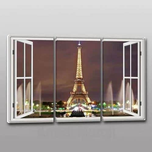 Tris quadri moderni stampa tela finestra Parigi