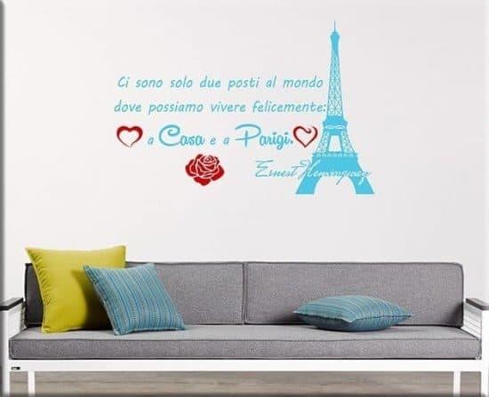 adesivi da parete frase casa Parigi Ernest Hemingway
