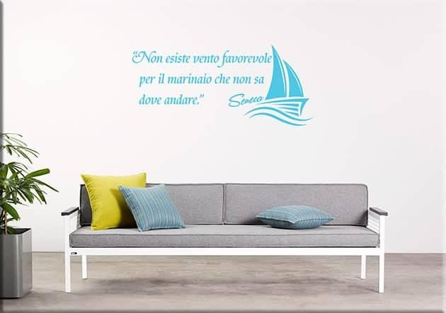 adesivi da parete frase marinaio Seneca arredo
