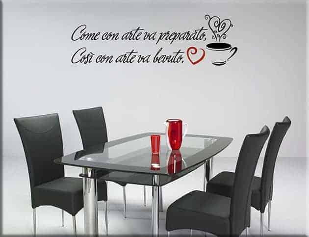 adesivi murali frase caffè bar arredo