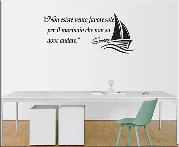 adesivi murali frase marinaio Seneca arredo