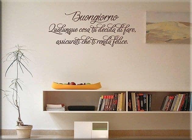 Adesivi murali frase buongiorno arredo - Decorazioni murali per cucina ...