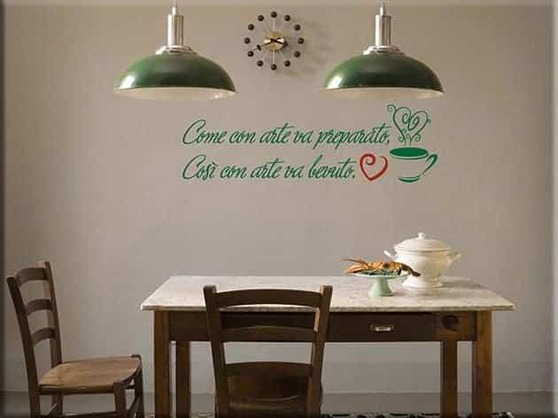 decorazioni murali frase caffè bar arredo