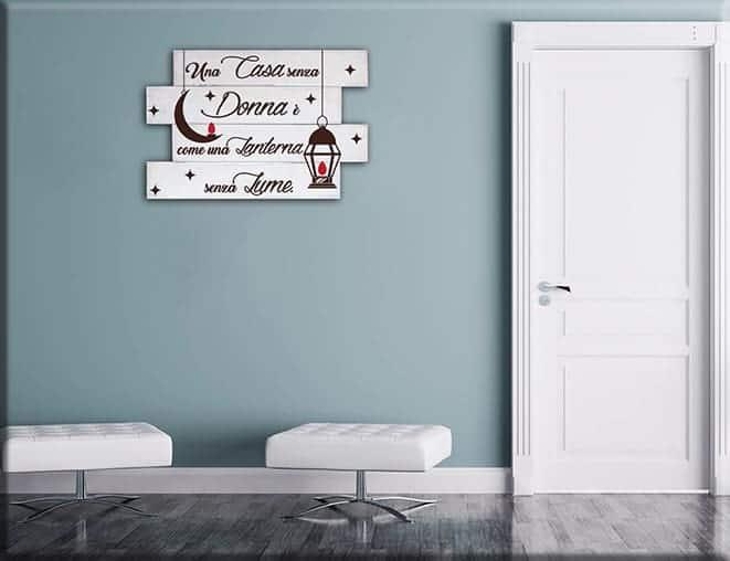 pannelli decorativi in legno shabby chic frase donna