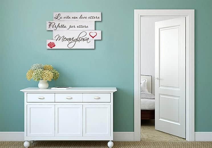 pannelli decorativi in legno shabby chic frase vita