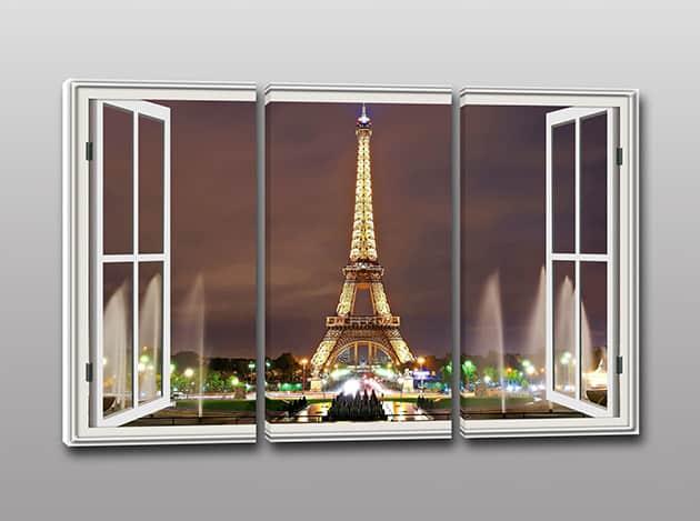 Tris quadri moderni stampa tela finestra parigi - Quadri con finestre ...