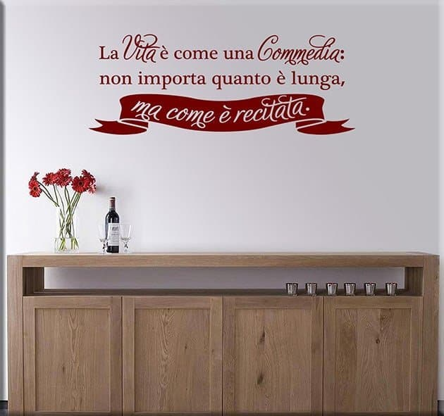 wall stickers frase vita Seneca arredo