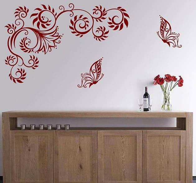 Adesivi da parete farfalle fiori stilizzati