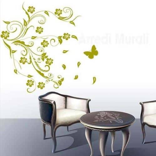stickers murali con fiori stilizzati e farfalle arredo pareti moderne