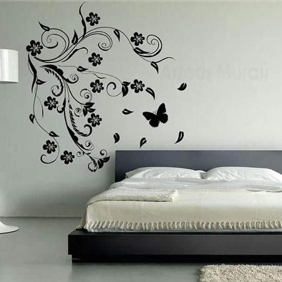 Adesivi da parete fiori stilizzati arredo design nero