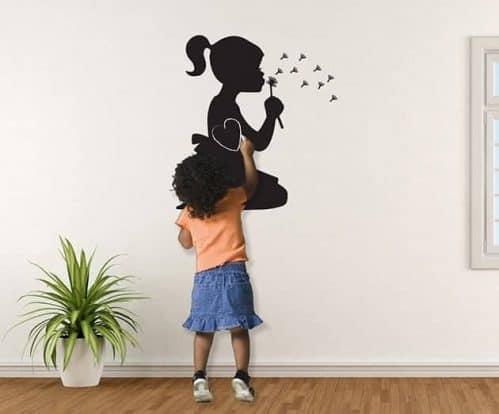 Lavagne adesive murali bambina soffione