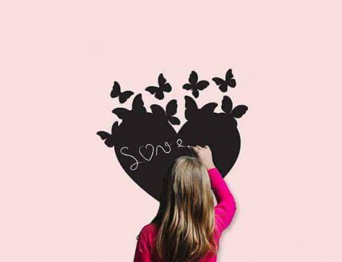 Lavagne adesive murali cuore farfalle