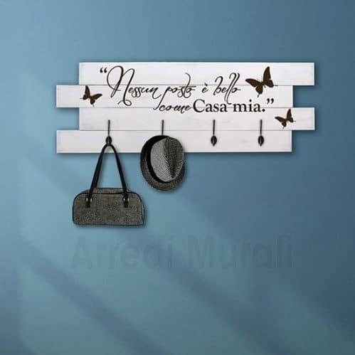 Pannelli decorativi appendiabiti in legno shabby chic con scritte