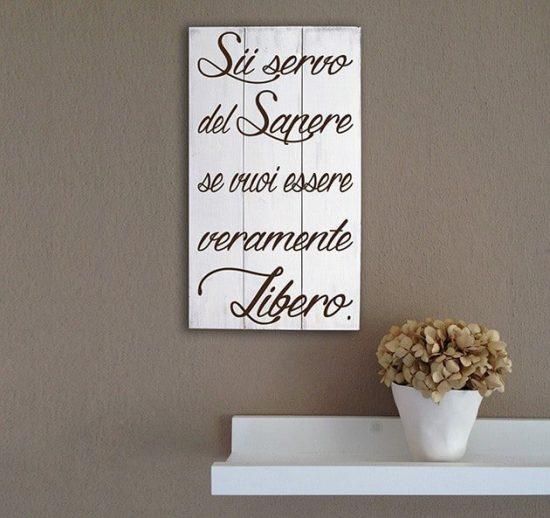 Pannelli decorativi shabby chic in legno frase Seneca